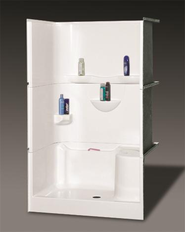 OASIS BATH SH3P-4834LS 3-PC SHOWER WHITE VURSA 48X34 DUAL BACK WALL SHELVES, CENTER DRAIN, LEFT SEAT, FIBERGLASS MC383760