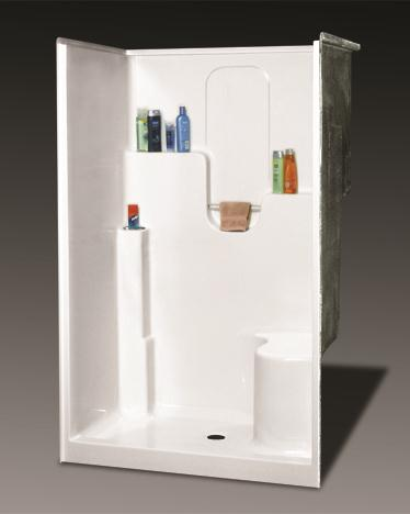 OASIS BATH SH-4836LS SHOWER WHITE VURSA 48X36 DUAL BACK WALL SHELVES, TWIN CORNER ACCESSORY TOWERS, ACRYLIC TOWEL ROD, CENTER DRAIN, LEFT SEAT, FIBERGLASS MC383686