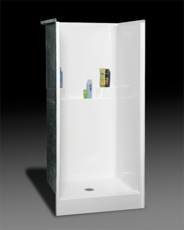 OASIS SH-3636 SHOWER BISCUIT 36X36 ELEVATED BACK WALL SHELVES, CENTER DRAIN, FIBERGLASS