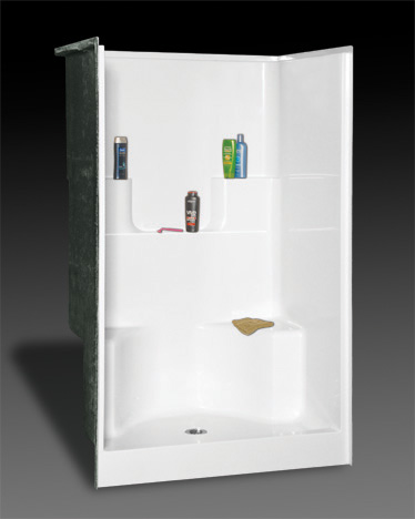 OASIS SH-4834 DS SHOWER WHITE 48X34 ELEVATED BACK WALL SHELVES, CENTER DRAIN, TWIN SEAT, FIBERGLASS