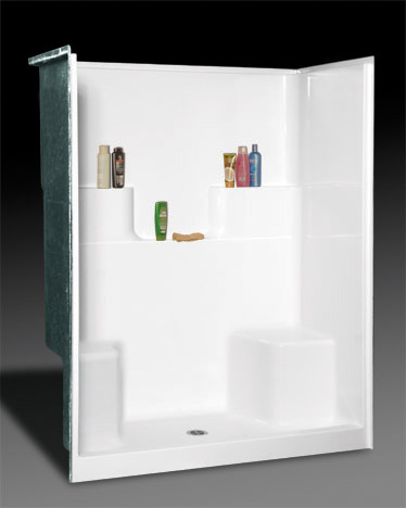 OASIS SH-6034DS SHOWER WHITE 60X33-3/4 DUAL ELEVATED BACK WALL SHELVES, CENTER DRAIN, TWIN SEAT, FIBERGLASS