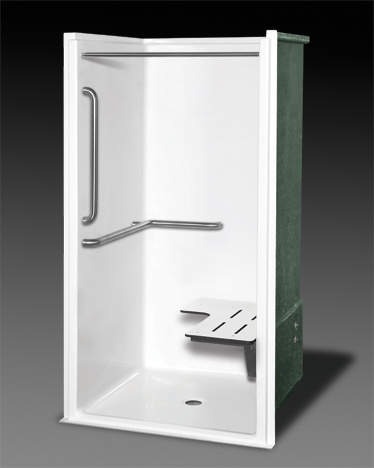 OASIS SHFW-WX-3837-WHT-ANS17-LS ONE PIECE FIBERGLASS BARRIER FREE SHOWER WITH FACTORY INSTALLED FOLDING SEAT LEFT, 1-1/2