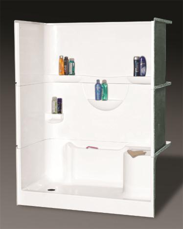 OASIS BATH SH3P-6032L-RS 3-PC SHOWER BISCUIT VURSA 60X32 LEFT DRAIN, RIGHT SEAT, MULTI-LEVEL BACK WALL SHELVES, CORNER ACCESSORY LEDGE, FIBERGLASS MC383850
