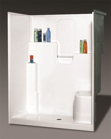 OASIS BATH SH-6036LS SHOWER BISCUIT VURSA 60X36 DUAL ELEVATED BACK WALL SHELVES, CENTER DRAIN, LEFT SEAT, FIBERGLASS MC383690